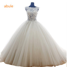 abule Wedding Dress 2017 summer Fashionable White Princess sheer Transparent lace Wedding gowns Sexy lace up Vestido De Noiva