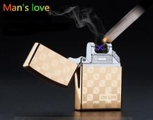 Alta Quailty cruz doble arco caso más claro del pulso del USB encendedores a prueba de viento electrónico Metal Men cigarrillos cuadro más ligero Gifts-JL208