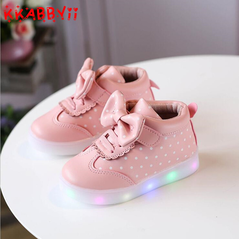 Spring Autumn Kids Led Shoes For Girls Toddler Girl Sneakers Sweet Children Casual Sneakers With Light Soft Sports Led Shoes