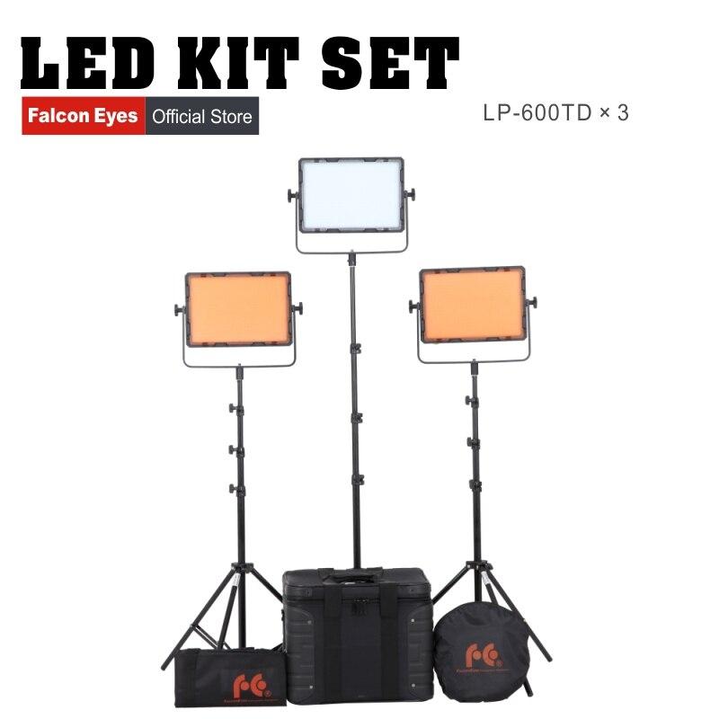 Falcon Eyes 600 pièces 36 W 3200/5600 K panneau de LED bicolore pour photographie Film vidéo Interview DV-600kit de tournage 3 pcs/lot