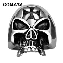 GOMAYA Mens Rings 316L Stainless Steel Retro Gothic Male Ring Personalized Punk Rock Biker Exquisite Jewelry Gift for Men