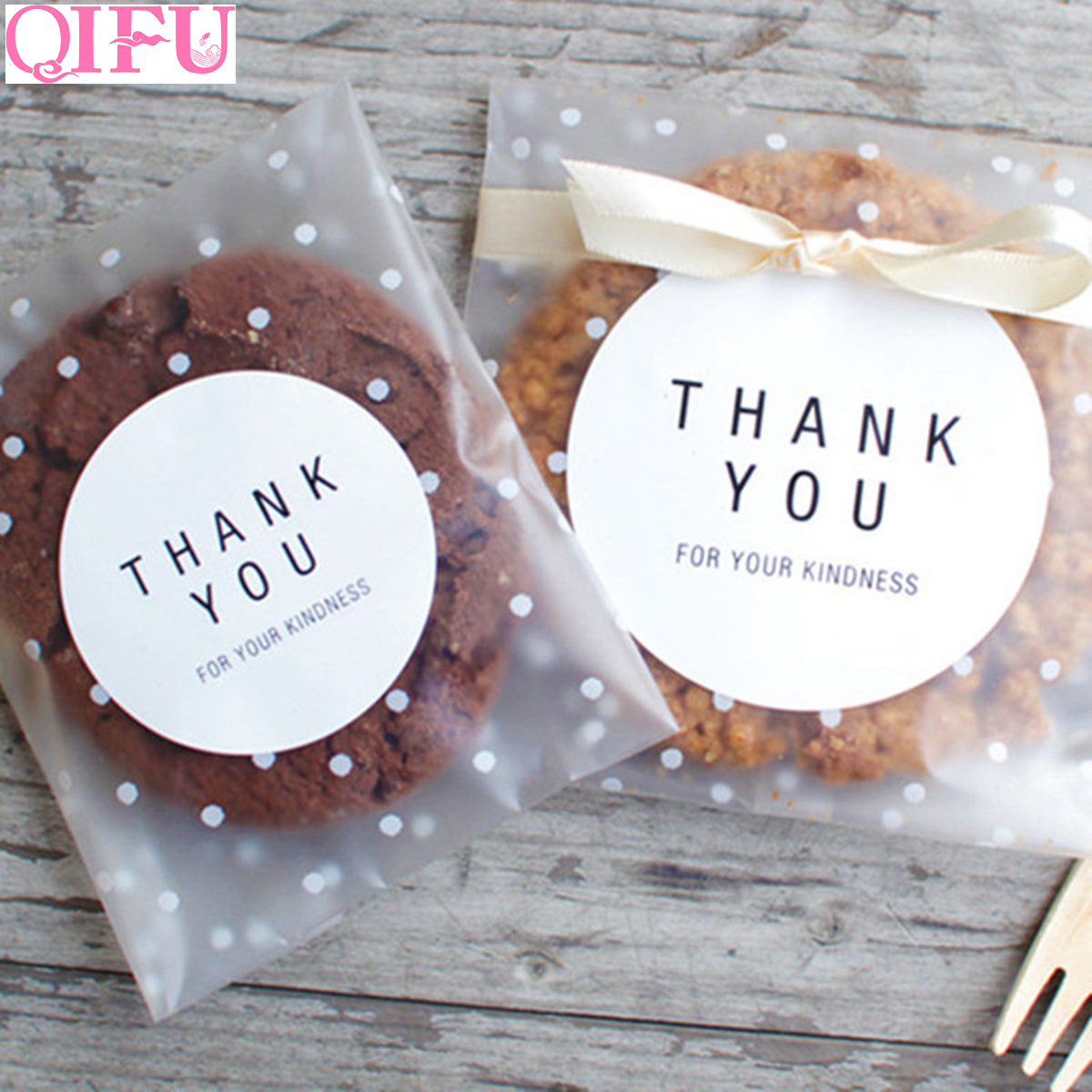 QIFU 100pcs/60pcs Transparent Plastic Bag Candy Cookie Gift Bag Frosted OPP Birthday Party Candy Packaging Bag Pouch Gift Box