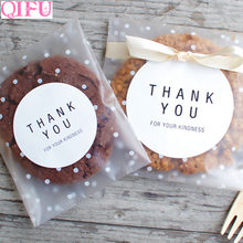 QIFU  Small Plastic Bags Transparent Cellophane Bag Birthday Goodies Gift Candy Cookie Polka Dot Stickers