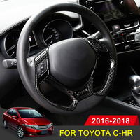 Car Sticker Steering Wheel Sequins Trim Cover Stickers For Toyota C HR CHR 2016 2017 2018 Accessories Interior Moulding