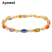 Nobby Gold color Bracelets AAA Zircon Beautiful Color Crystal Health Nickel Lead free Fashion jewelry TB243A