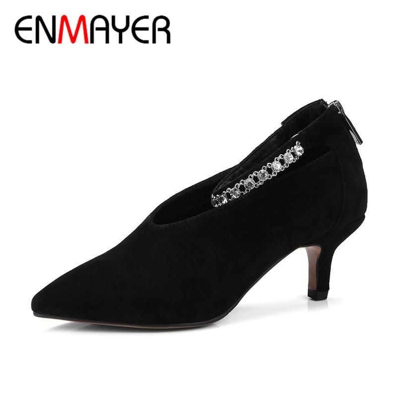 ENMAYERA 2018 Nova mulher Moda Primavera/Outono Bombas de Alta Qualidade Rendas Até Sapatos Casuais Sapatos de Festa Mulher Namoro bombas CY058