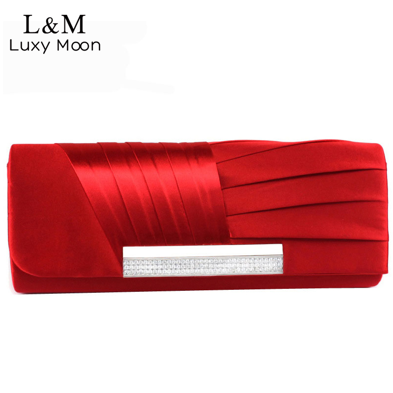 Ladies Silk Evening Bag Fashion Bridal Wedding Satin Hand Bags White Party Purse Pink Red Black Day Clutch Chain 2017 XA303H акустика центрального канала heco elementa center 30 white satin