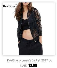 ac945104e4f RealShe Women s Jacket 2017 Women Long Sleeve Turn Down Collar ...