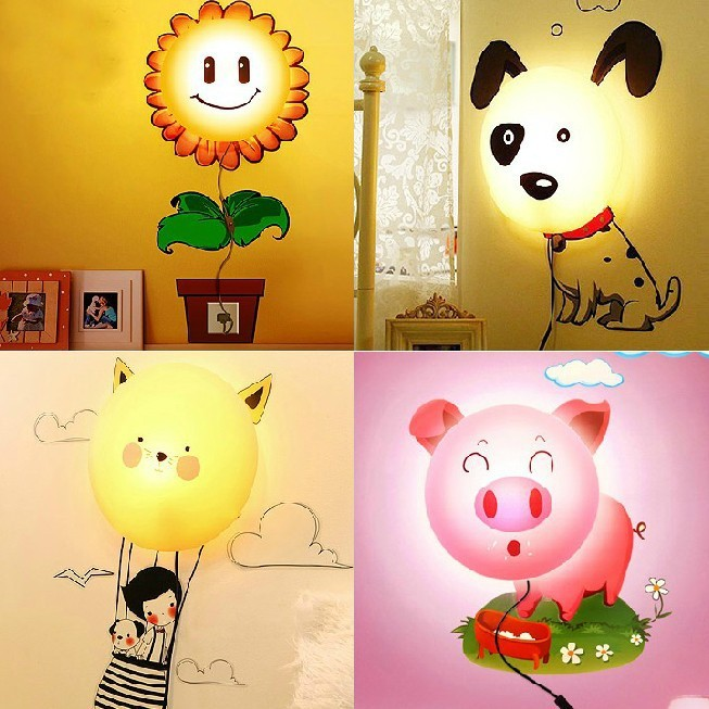 3D wall sticker lamp 220V novelty night light cartoon baby DIY Wallpaper wall lights decoration wall stickers wallpaper light cartoon cactus wall sticker