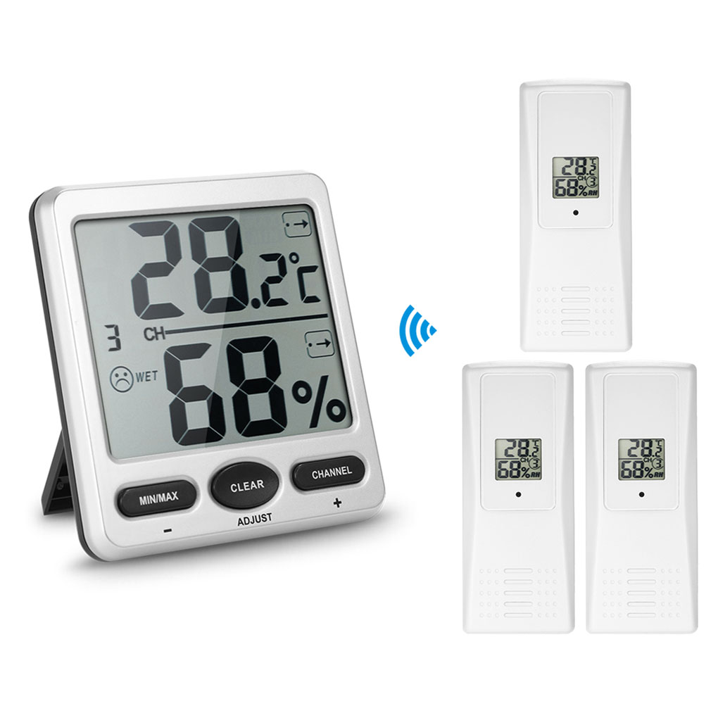 1 to 3 Inside Outside Remote Sensor Emitter Console Receiver Wireless Digital Thermo-Hygrometer Wine Cellars 1 to 1 wireless digital thermo hygrometer console receiver remote sensor emitter thermometer humidometer drying rooms