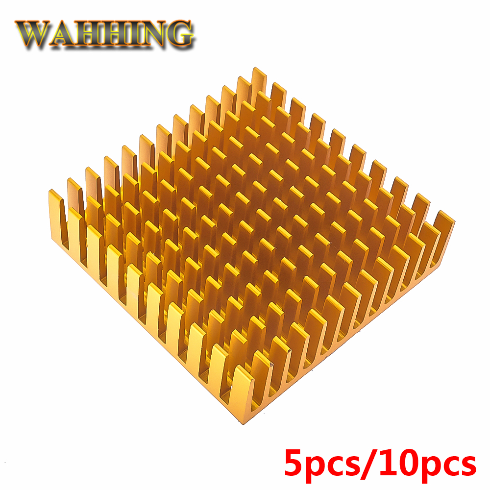 10x Computer Cooling Radiator Golden Aluminum Heatsink Heat sink for Electronic Heat dissipation Cooling Pads 40*40*11mm HY1593 jeyi cooling warship copper m 2 heatsink nvme heat sink ngff m 2 2280 aluminum sheet thermal conductivity silicon wafer cooling