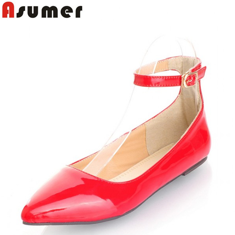 Asumer 6 colors Fashion 2016 new buckle ankle strap women flats women shoes pointed toe candy color Ballet flat  shoes spring autumn solid metal decoration flats shoes fashion women flock pointed toe buckle strap ballet flats size 35 40 k257