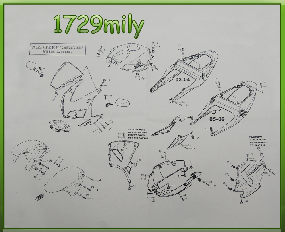 Complete Fairing Bolt Nut Screw Kit For Honda Cbr600rr Cbr 600 Rr 2005 Color Wiring Diagram Detail Pictures