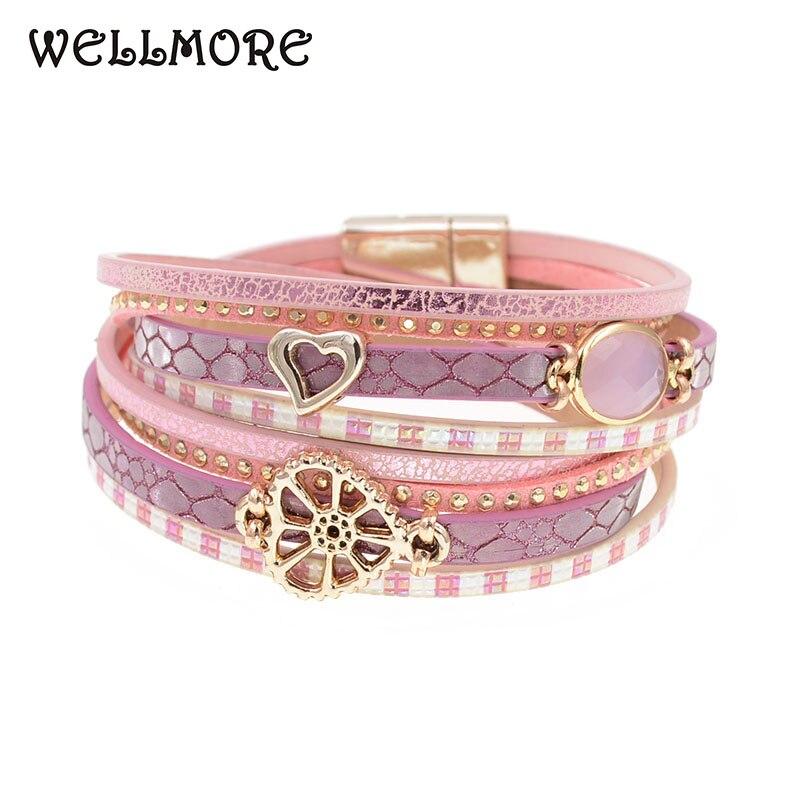 WELLMORE new stlye glass leather bracelet wrap bracelets for women Trendy Bohemian bracelets wholesale B17110601