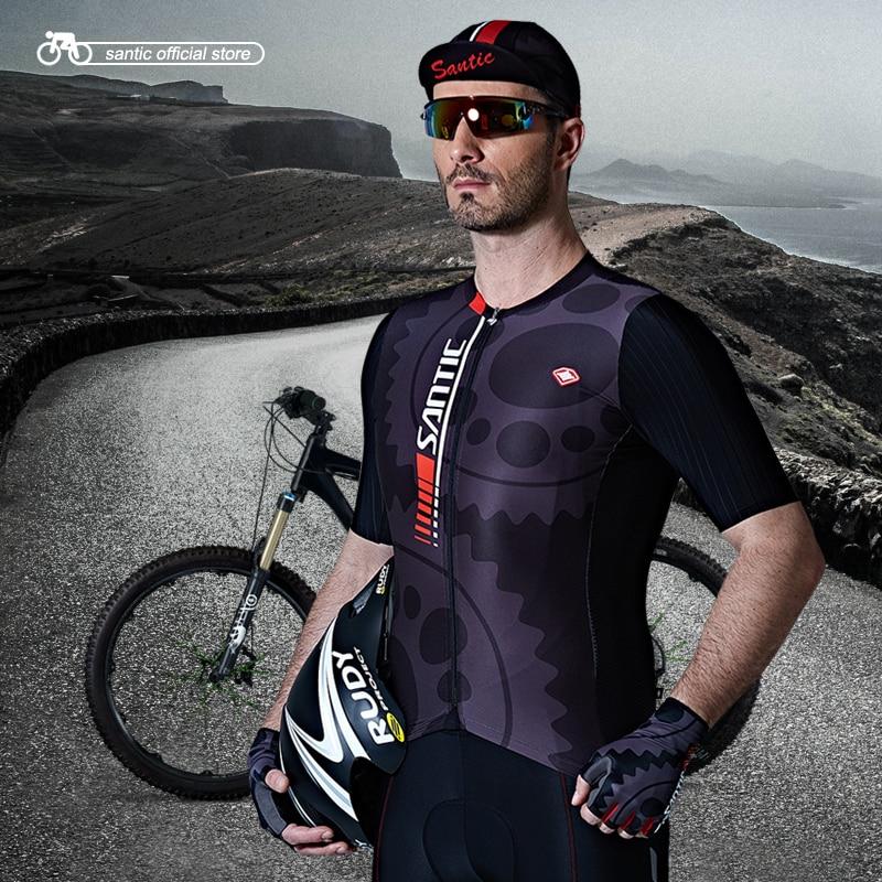 Santic Hommes Cyclisme Court Jersey Pro Fit SANTIC N-FEEL Antidérapant Manches Manchette Vélo De Route VTT À Manches Courtes Équitation Chemise M7C02111