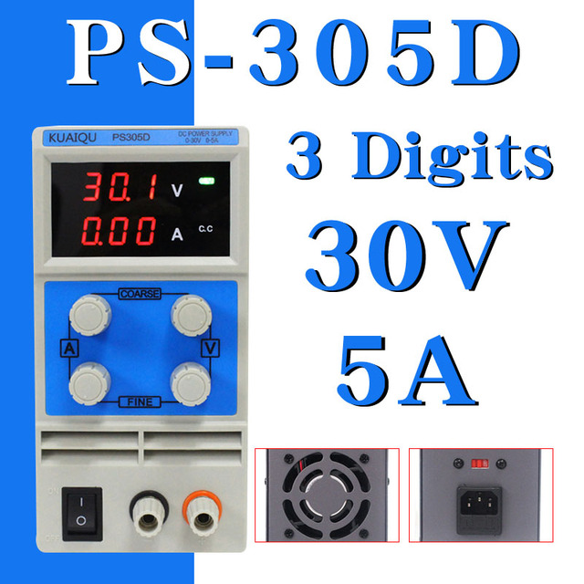 KUAIQU mini DC Power Supply PS305D 30V 5A Switching laboratory Digital Variable Adjustable DC power supply 0-60V 0-5A PS305D HOT