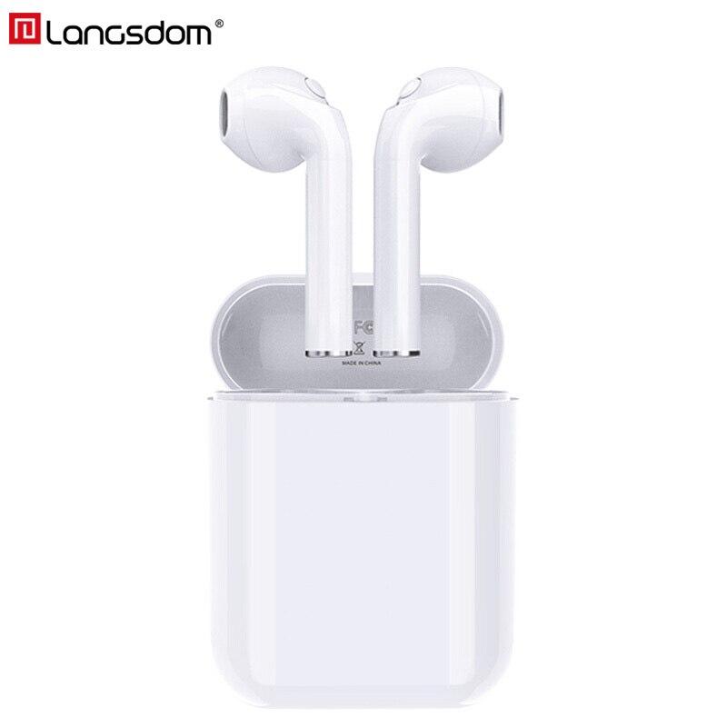 Langsdom Auricolari Bluetooth Senza Fili Vero Cuffia Senza Fili Auricolari Stereo Cuffie per il Telefono Xiaomi HD Comunicazione Portatile