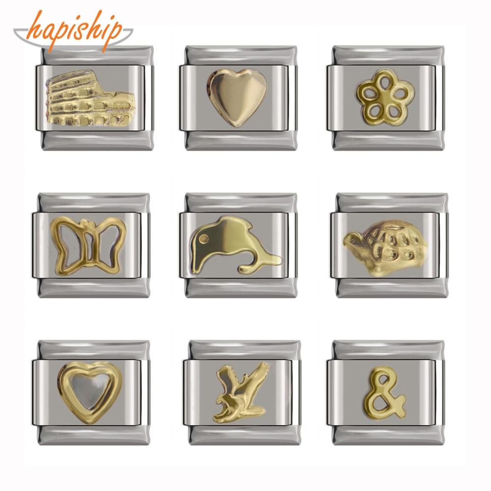 Hapiship 9mm Width Original Daisy Heart Flower Butterfly Dolphins Italian Charm Bracelet Stainless Steel Jewelry Making DJ116