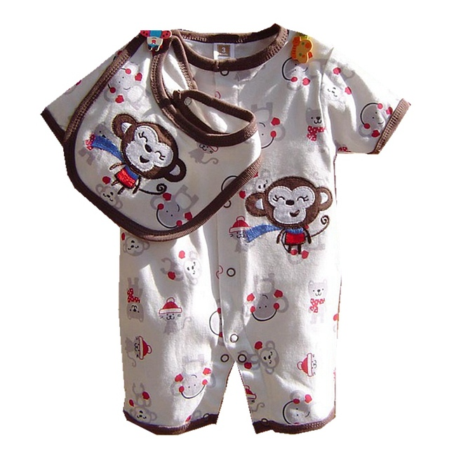 Cute Cartoon Baby Clothes Set Romper + Bib Kids Suit Vetement Enfant 2015 Summer Toddler Boys Clothing Bebe New Born Conjuntos