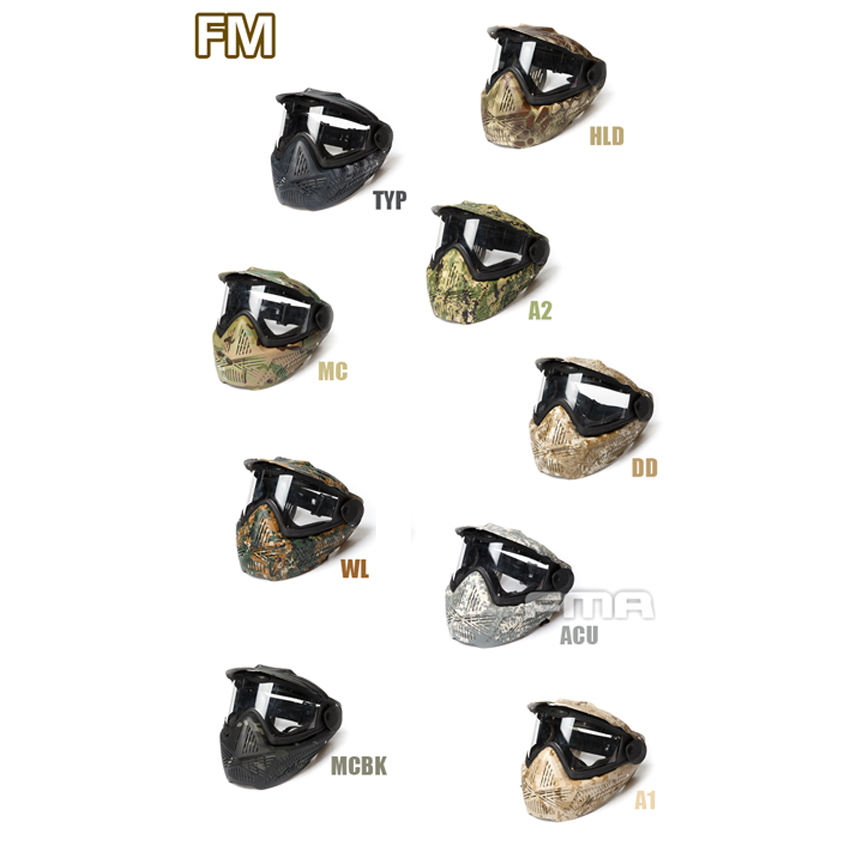 FMA New Outdoor Paintball Airsoft F2 Full Face Mask with Single Layer Strengthen PC Lens FM-F0026 9 Colors airsoft full face mask and black lens for military cs war game breathable face paintball safety protective goggle