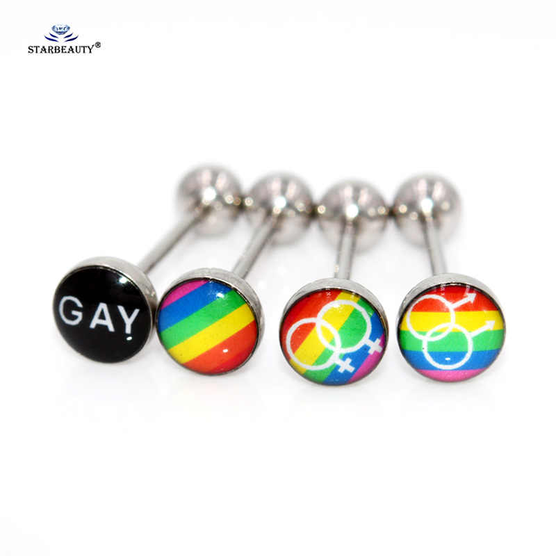 2Pcs Sex symbol fashion Shinning tongue ring Earring stainless steel man woman fashion jewelry tongue piercing jewelry