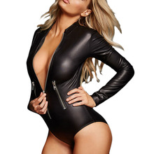 Women Black PVC Leather Long Sleeve Bodysuit Pole Dance Costume Sexy Club Gothic Fetish Latex Costume With Front Zipper Romper