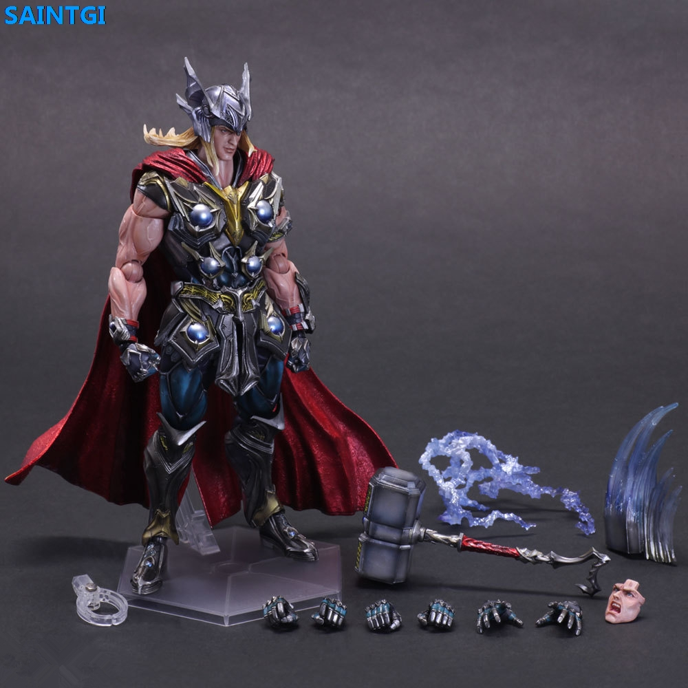 SAINTGI Marvel Avengers Assemble Thor Doll Super Heroes Pvc 25CM Action Figure Collection Model Toys Dolls Western Animiation 2016 rushed sale fashion