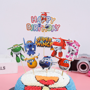 Image 1 - 1PCS/PACK Baby Shower Party Happy Birthday Cake Toppers Super Wings Theme Kids Favors Cupcake Decoration Flag Events Supplies