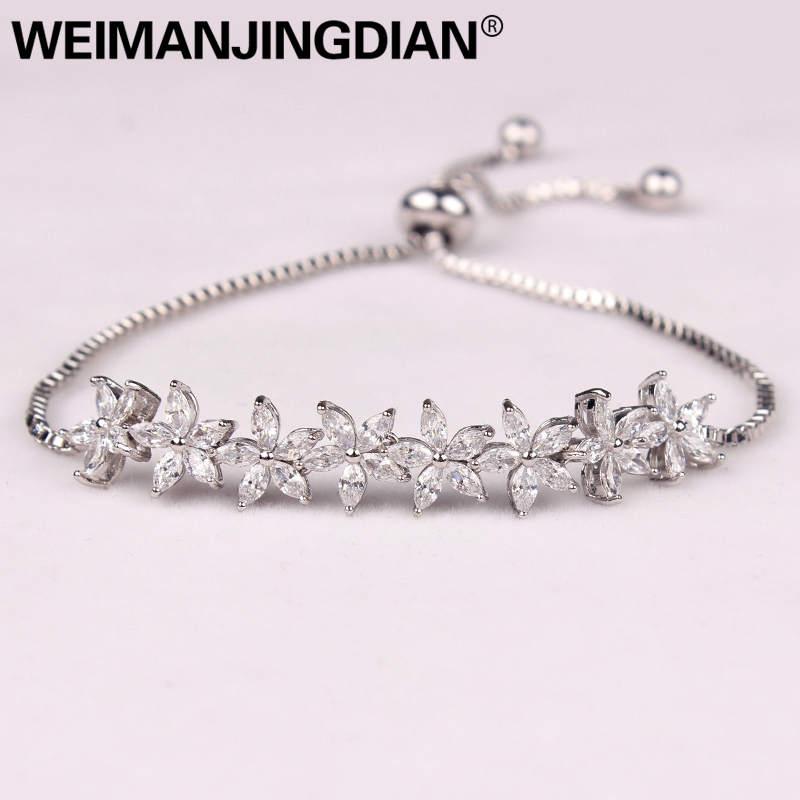 WEIMANJINGDIAN Sparkling Cubic Zirconia Crystal Flower Design Pull-string Zirconium Wedding Bracelets for Girls or Wedding buy mens string bracelets