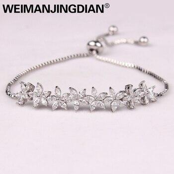 a3a239f0ee74 WEIMANJINGDIAN Sparkling Cubic Zirconia cristal flor diseño Pull-Cadena de  circonio boda pulseras para niñas o boda