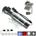 Multifunction XPE Solar LED Flashlight Rechargeable Portable Torch Light + Safety Hammer Compass Magnet Power Bank Functions