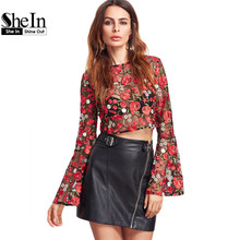SheIn Red Flare Sleeve Flower Embroidered Mesh Top Elegant Womens Tops 2017 Long Sleeve Zipper Back Sexy Blouse