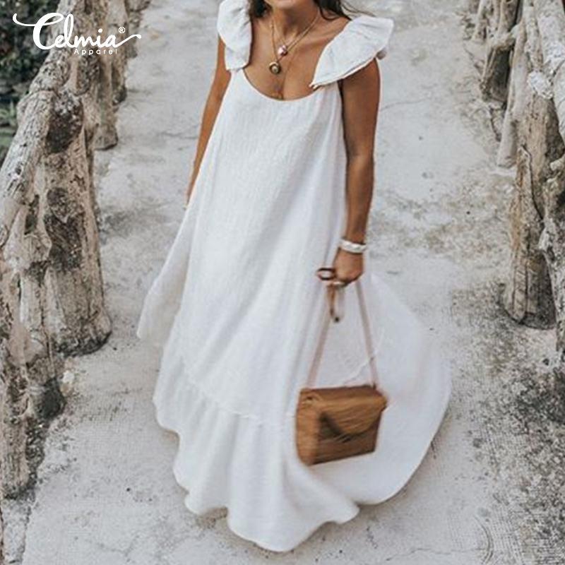 2019 Celmia Robe d'été femmes Sexy à manches courtes à volants Maxi Robe longue décontracté en vrac solide plissé plage Vestido Robe grande taille
