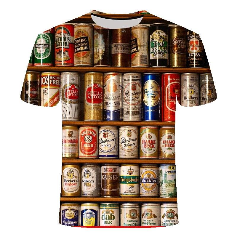 Novidade 3d t camisa casual esporte masculino tshirt latas de cerveja impresso hip-hop em torno do pescoço de manga curta camisetas masculinas/femininas