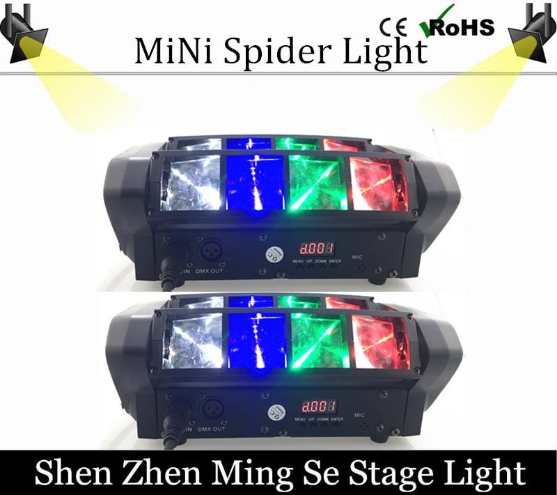 2Pcs/lots Hot Portable NEW Moving Head Light Mini LED Spider 8x6W RGBW Beam Light Good Quality Fast Shipping