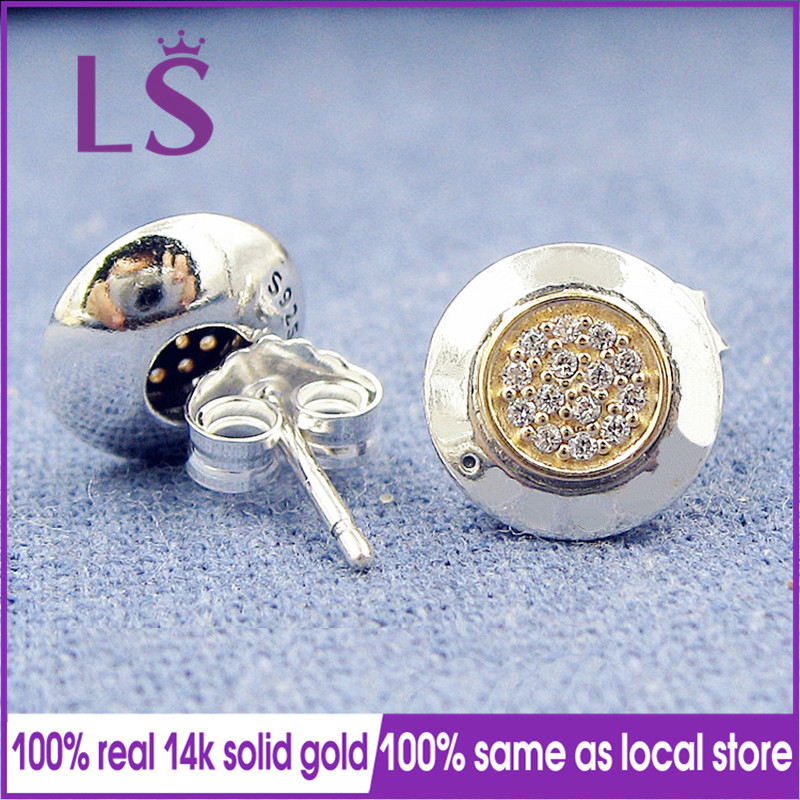 LS Real 14.K G.old Signature Stud Earrings For Women Brincos Sterling Silver Fine European Jewelry N stylish golden hollow rounded rectangle hasp bracelet for women