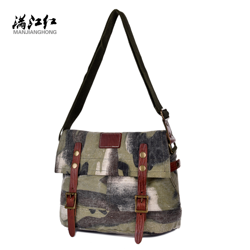 ФОТО Manjianghong Washed Cotton Canvas Real Cow Leather Bag Vintage Strong Men  Messenger Bag Man Bag Lienzo Leatnervag 1508