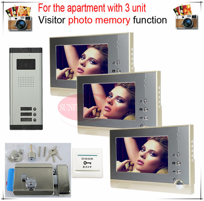 3v3 Take Photos Color Video Door Phone Intercom Doorbell System  For Three Units Apartment  + Electronic control lock