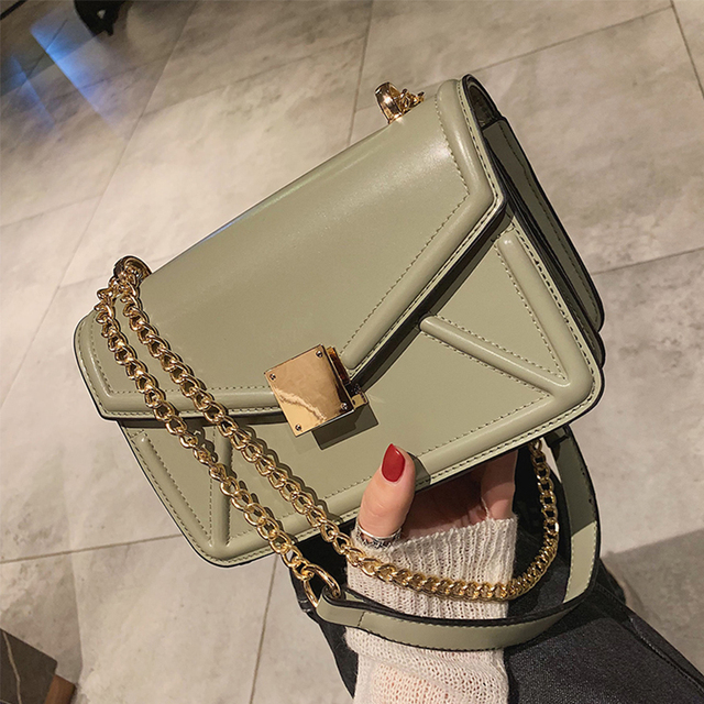 ETAILL European Fashion Lady Square Bag 2019 New Quality PU Leather Women's Designer Handbag Golden Chain Shoulder Messenger Bag