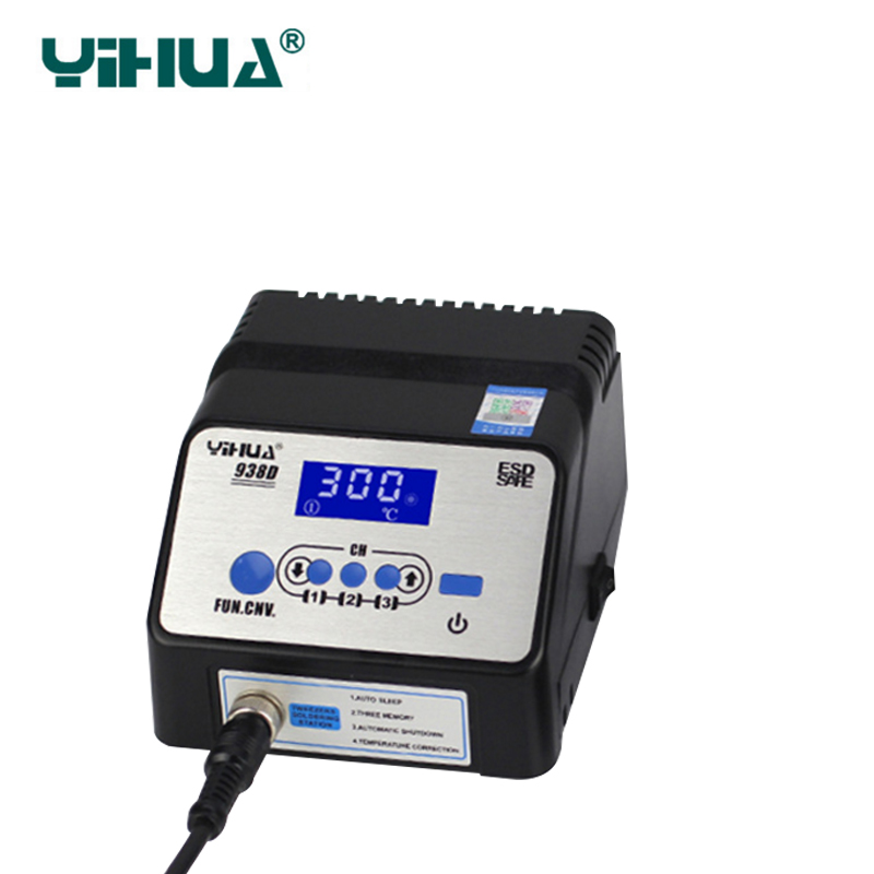 YIHUA938D tweezers soldering station electric tweezers soldering station anti - static intelligent lead - free soldering station 936a 70w lead free thermostat soldering station soldering tools anti static industrial electric iron welding station