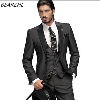 цена на mens suits slim fit wedding tuxedo high quality custom men coat wool bleed tuxedos dark gray three piece suits