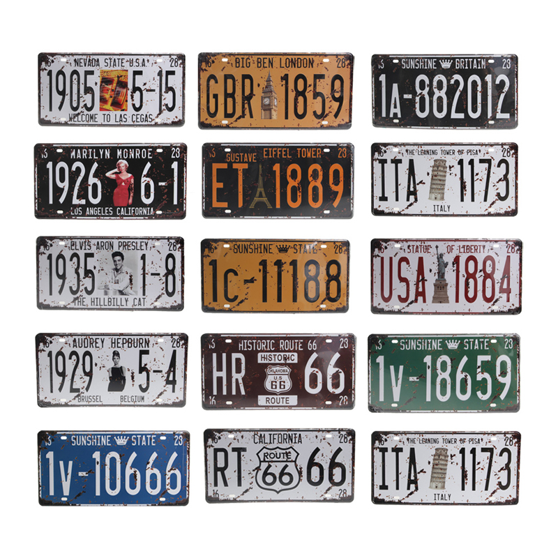 Popular Fashion New 1 Pc Craft Art Vintage Decoration Retro Wall Decor 15.3*30.5cm Metal License Plate