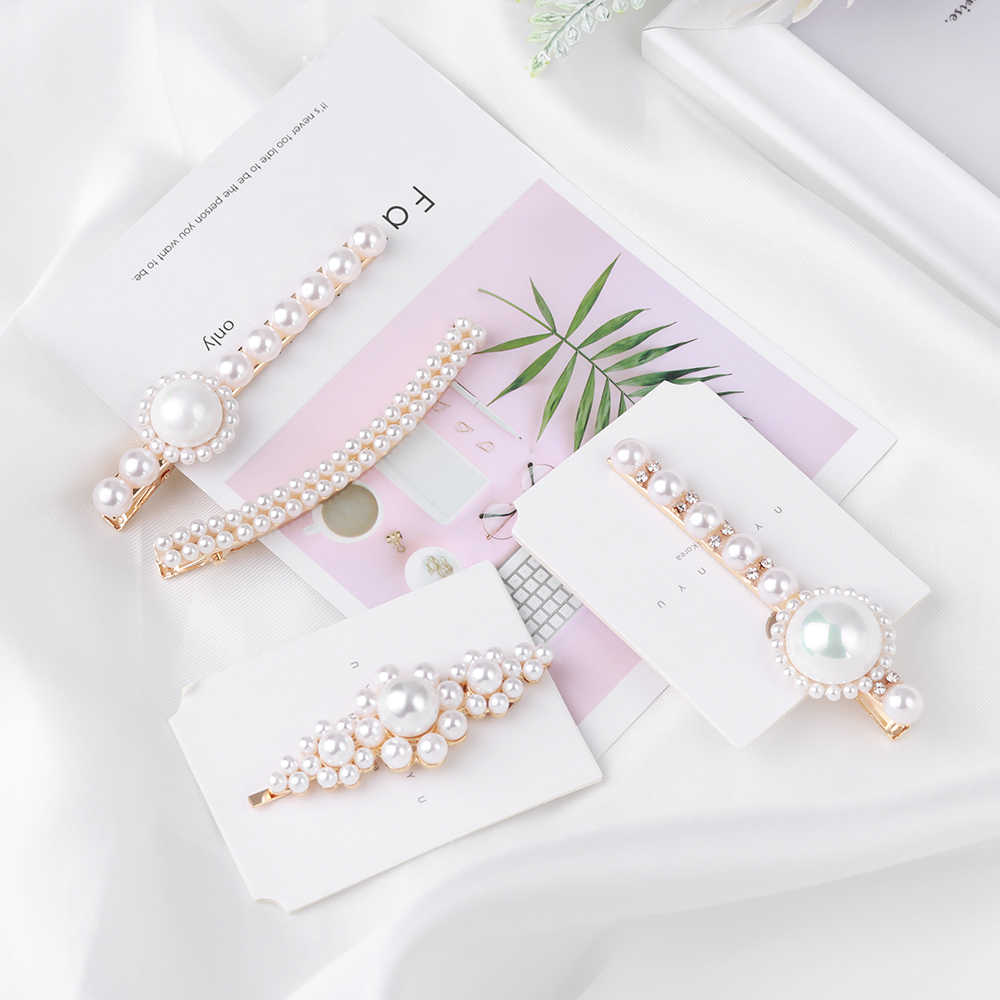 Women Girls Vintage Imitiation Pearl Hairpins Hair Clips Flower Shape Rhinestones Barrettes Hair Styling Tools Hair Accessories