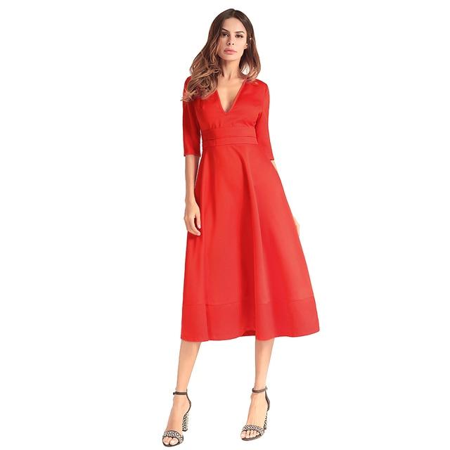 2019 New Women Evening Gown Long Dress Satin V Neck Half Sleeves Female  vestidos High Waist b84a801fccb2