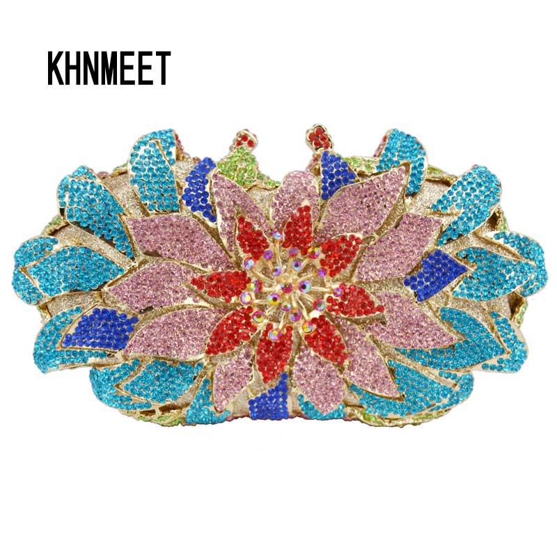 Najnowszy różowe kwiat kształt dżetów sprzęgło torba wieczór luksusowe kryształ diamante sprzęgła torba na ślub kopertówka torebka SC172 w Torby z uchwytem od Bagaże i torby na  Grupa 1