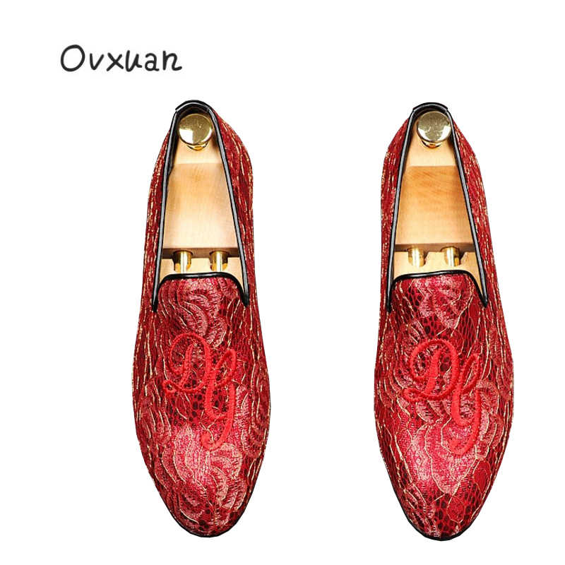... Ovxuan Embroideried Totem Men Wedding Dress Shoes Fashion Party Prom Handmade  Loafers Man Flats Red bottom ... 3bcd12ed5e4c