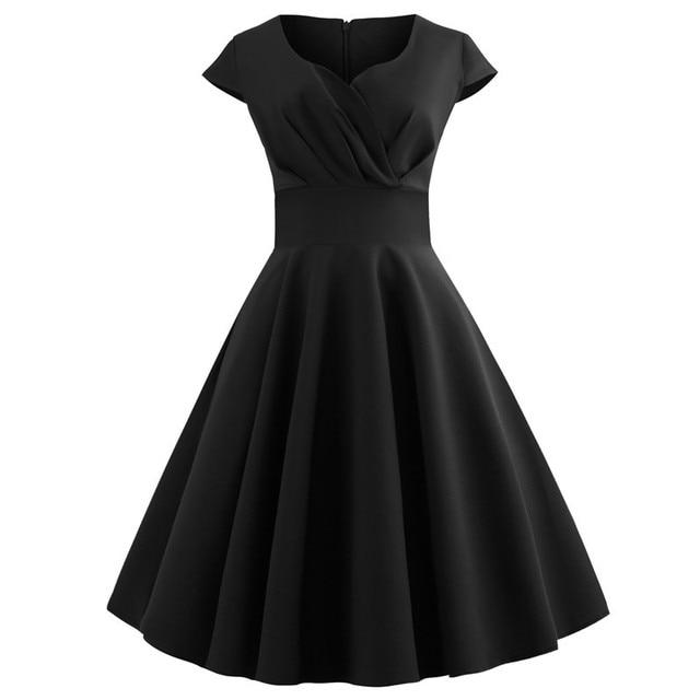 Women Summer Dress 2019 Solid Color Retro Vintage 50s 60s Casual Party Office Robe Rockabilly Dresses Plus Size Vestidos 5