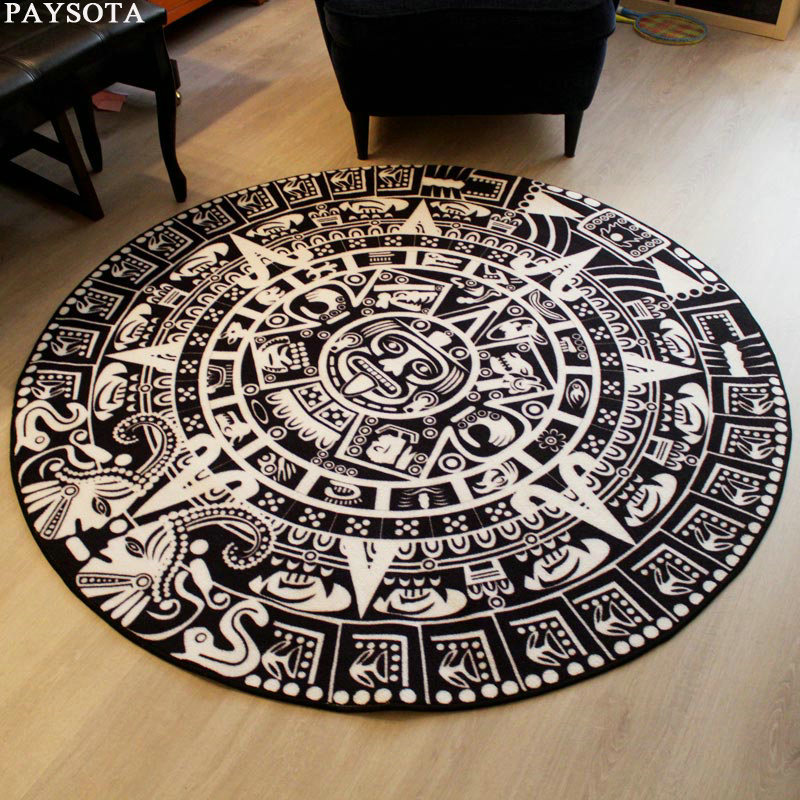 Paysota Maya Totem Black White Round Rug Entrance Tea Table Sofa