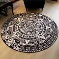 Paisota Maya Totem negro blanco alfombra redonda entrada mesa de té sofá alfombra grande sala de estar antideslizante alfombras