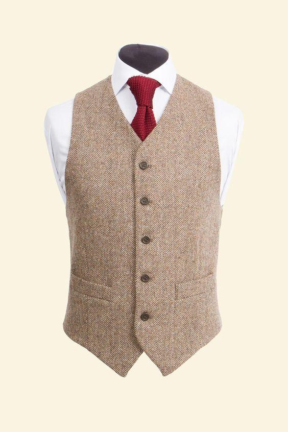 Ferme mariage Vintage marron chevrons gilets sur mesure marié gilet hommes slim fit Tweed costume sur mesure gilets de mariage pour hommes